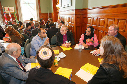 "Reflecting circles discussion groups at the ISARC Religious Leaders Forum ""Faith Moving Mountains"" in the Ontario Legislative Building, Queen's Park, Toronto on November 18, 2015"