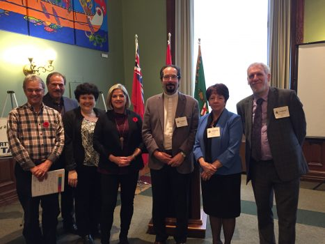 Ryan Friedman, Jack Panozzo, Elin Goulden, NDP Leader, Andrea Horwath, Rev. Alex Wilson, Rev. Susan Eagle and Rabbi Shalom Schachter