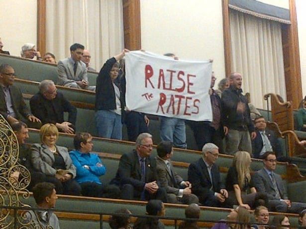 Ontario MPPs couldn't miss this banner when was unfurled by anti-poverty advocates in the provincial legislature's public gallery.