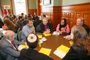 "Reflecting circles discussion groups at the ISARC Religious Leaders Forum ""Faith Moving Mountains"" in the Ontario Legislative Building, Queen's Park, Toronto on November 18, 2015. Photo/Michael Hudson"