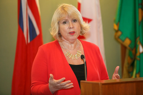 "Deb Matthews, MPP, Liberal, speaks at ISARC Religious Leaders Forum ""Faith Moving Mountains"" in the Ontario Legislative Building, Queen's Park, Toronto on November 18, 2015"