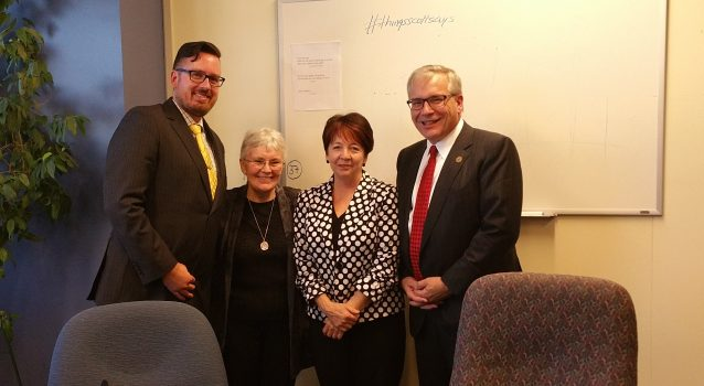 Rev Susan Eagle, Ryan Weston and Sister Joan Atkinson meeting with Minister Chris Ballard on issues of housing and Poverty Reduction.  Oct 25, 2016