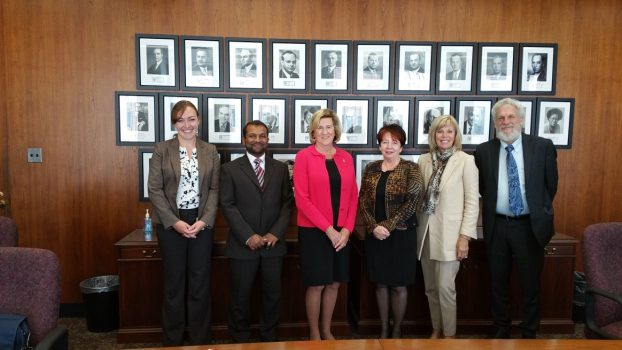 Minister Helena Jaczek, Policy advisor Julia Drydyk with  ISARC reps: Rev Susan Eagle, Rabbi Shalom Schachter and Imam Irshad Osman