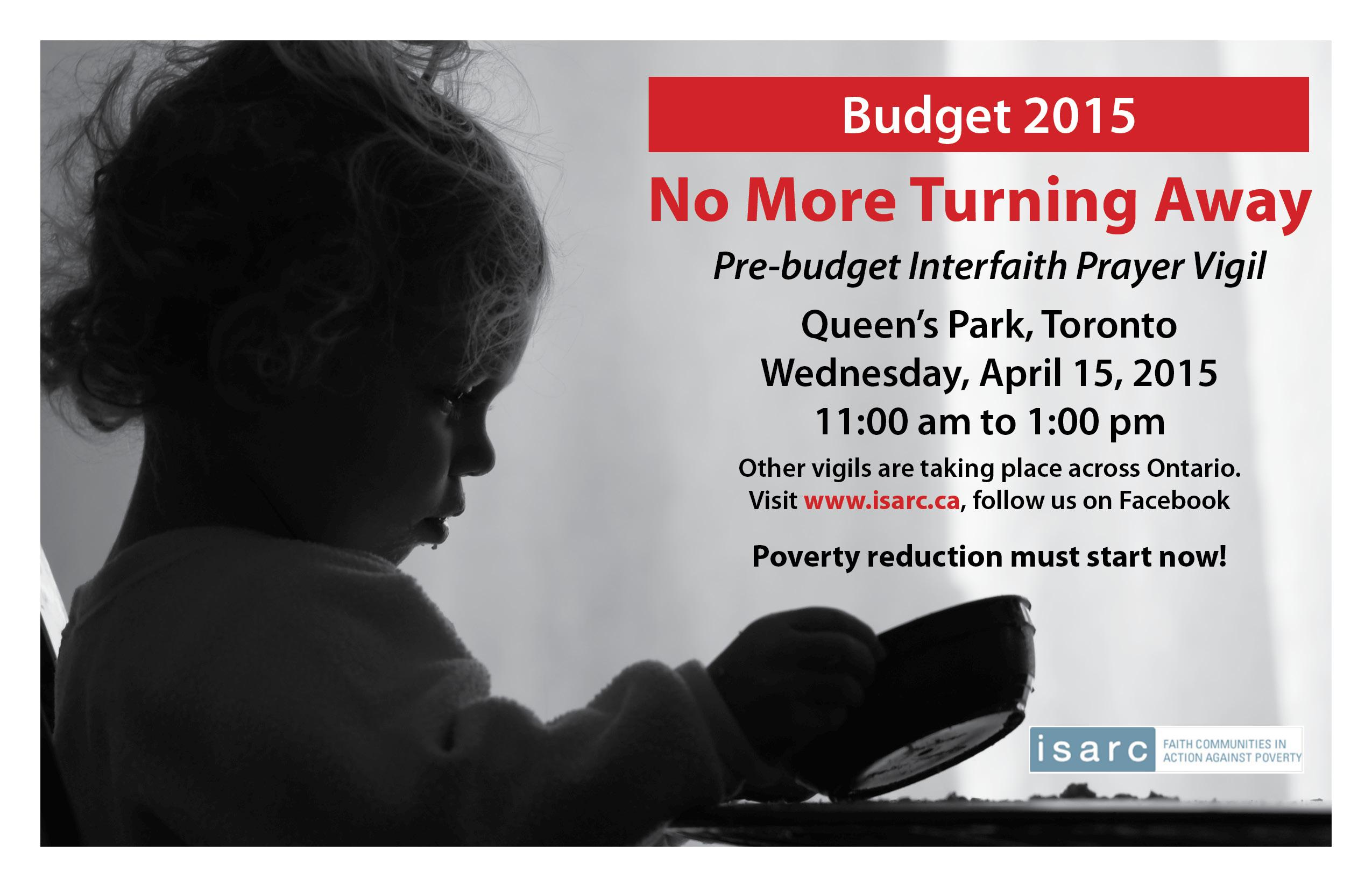 Queen's Park Pre-Budget Prayer Vigil April 15